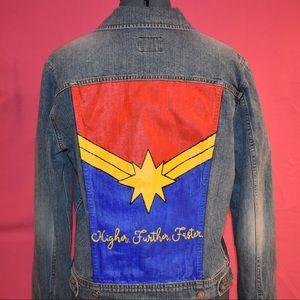 Captain Marvel Hand Painted Denim Jacket
